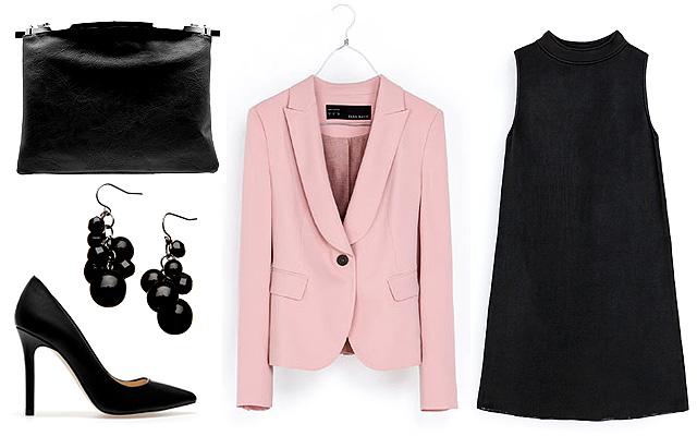 Ruha, blézer, cipő: Zara, táska: Bershka, füébevaló: Souffle