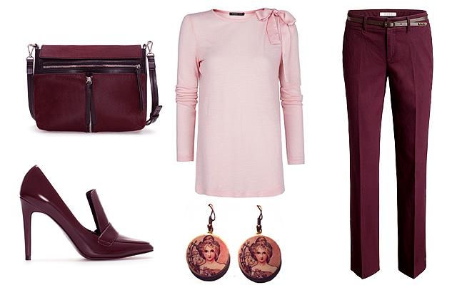Pulóver: Mango, nadrág: Esprit, táska, cipő: Zara, fülbevaló: Novadesign (Meska)
