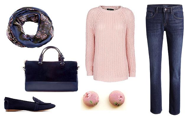 Pulóver, sálkendő: Mango, nadrág: Esprit, táska, cipő: Zara, fülbevaló: Adris (Meska)