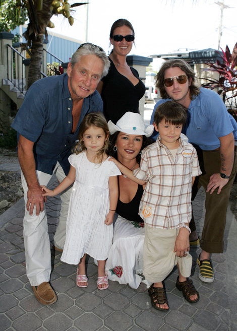 Michael Douglas, actress Catherine Zeta-Jones arrive at the Provo Airport with children Carys (3/1/2), Dylan (6), Cameron Douglas and his girlfirend Kelly Sott,