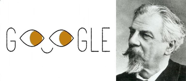 Ferdinand Monoyer és a mai Google Doodle (Forrás  Wikipedia Google) 7c7bc20dfb