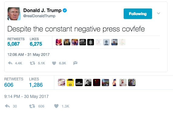 Donald Trump szerint covfefe