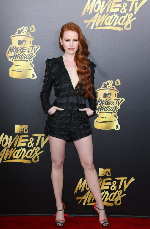 Actress Madelaine Petsch arrives for the 2017 MTV Movie & TV Awards at the Shrine Auditorium in Los Angeles, California, May 7, 2017.  / AFP PHOTO / JEAN-BAPTISTE LACROIX