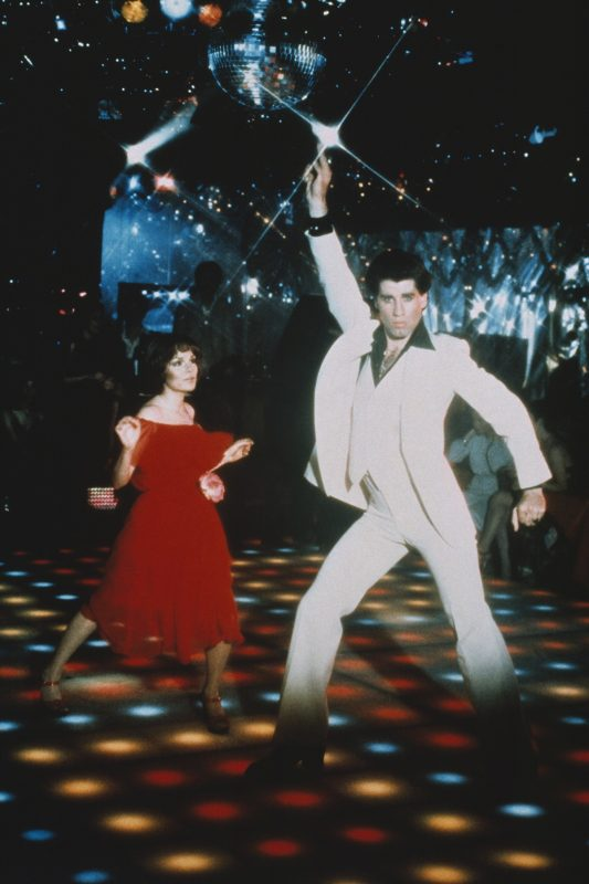 American actor John Travolta on the set of Saturday Night Fever, directed by John Badham. (Photo by Sunset Boulevard/Corbis via Getty Images)