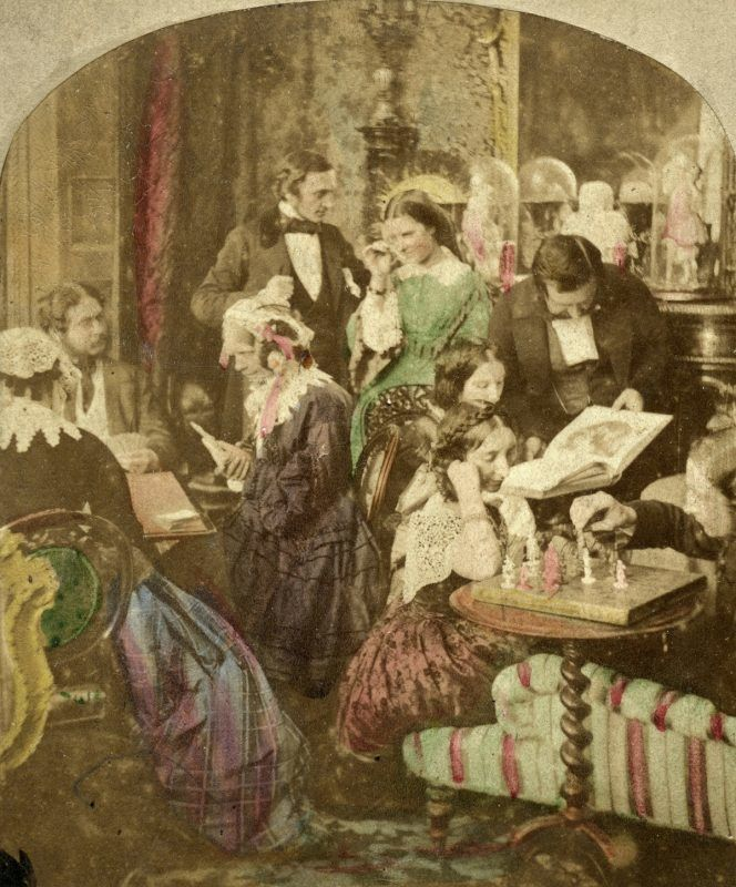 'Evenings at Home', 19th century. Stereoscopic card. (Photo by The Print Collector/Print Collector/Getty Images)