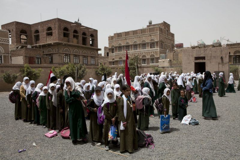In Yemen, a key factor contributing to poverty is the lack of education. Despite recent gains in enrollment, school statistics in Yemen remain among the lowest in the Arab world. The main educational problems in Yemen are a weak education system, population dispersion, insufficient public funding, lack of the institutional capacity necessary to efficiently deliver basic education services, and the need of children to work to support their families are the main factors that deter children from attending schools. A recent' Back-to-School campaign' seeks to increase access to schools and reduce dropout during the school year 2011-2012 by raising the awareness of communities about the value of education and importance of sending children to schools, the distribution of learning teaching supplies to 885,750 displaced persons, host communities and vulnerable groups. (Photo by Antoine Gyori/Corbis via Getty Images)