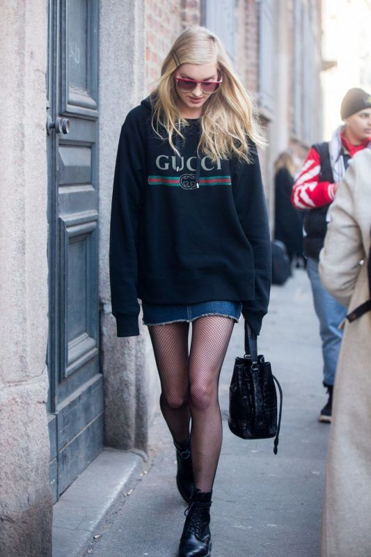 MILAN, ITALY - FEBRUARY 25:  Supermodel Elsa Hosk wears a black Gucci sweatshirt, Khirma New York bag, and YSL shoes outside Ermanno Scervino during Milan Fashion Week Fall/Winter 2017/18 on February 25, 2017 in Milan, Italy.  (Photo by Melodie Jeng/Getty Images)