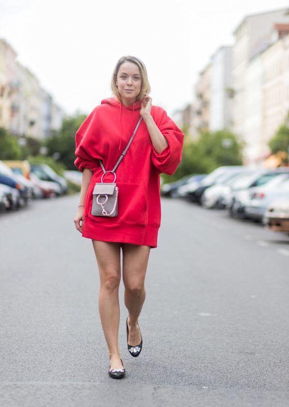 BERLIN, GERMANY - JUNE 05: Marina Hoermanseder wears an oversized red hoodie and a Chloe bag on June 5, 2017 in Berlin, Germany. (Photo by Christian Vierig/Getty Images)