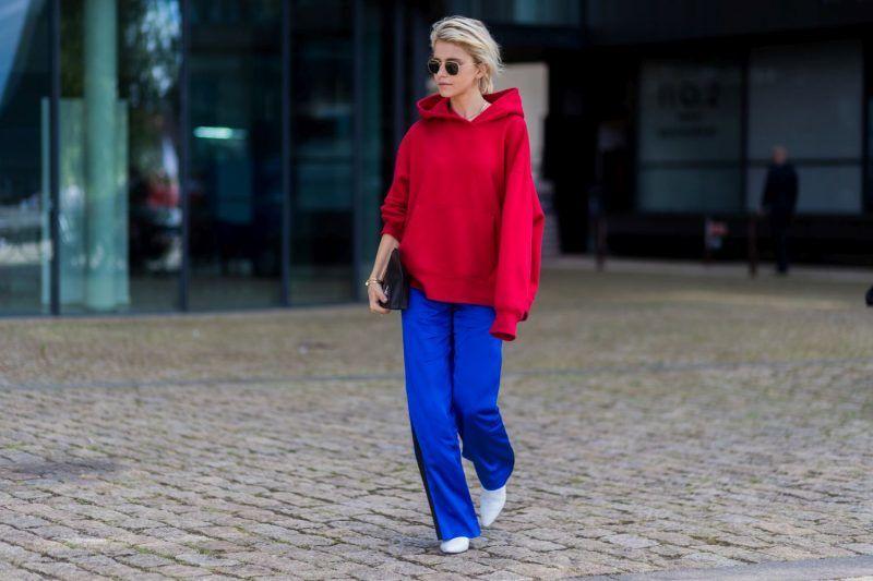 COPENHAGEN, DENMARK - AUGUST 10: Caroline Daur wearing a red hoody outside Designers Remix on August 10, 2017 in Copenhagen, Denmark. (Photo by Christian Vierig/Getty Images)