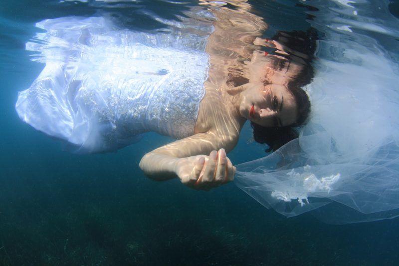 bride in water.