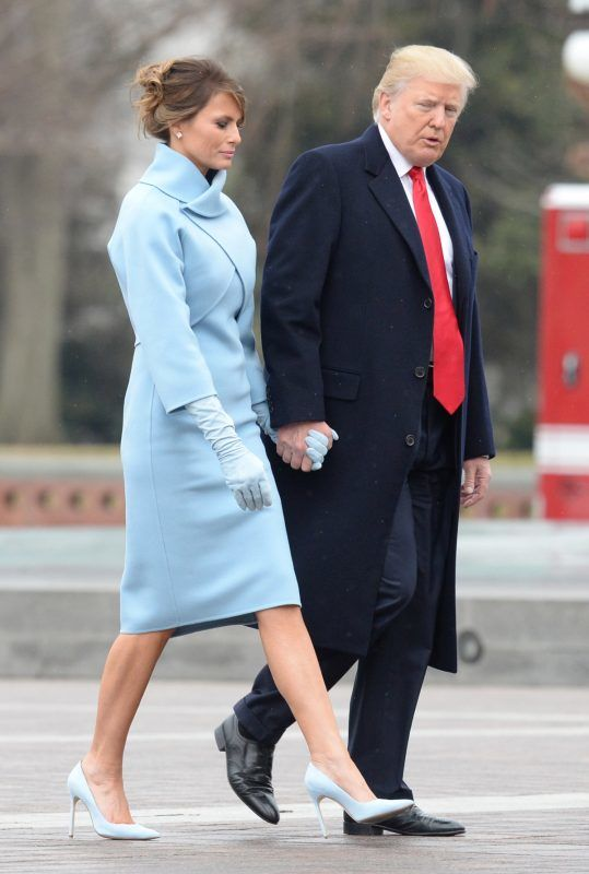 WASHINGTON, DC - JANUARY 20:   President Donald Trump and First Lady Melania Trump walk back to the Capitol Building after former President Barack Obama departed the inauguration, on Capitol Hill in Washington, D.C. on January 20, 2017. President-Elect Donald Trump was sworn-in as the 45th President. (Photo by Kevin Dietsch - Pool/Getty Images)