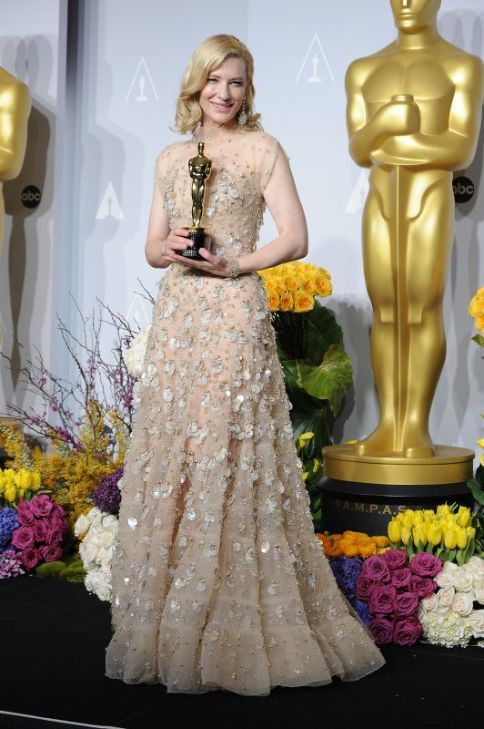Actress Cate Blanchett winner of Best Performance by an Actress in a Leading Role posing in the press room at Loews Hollywood Hotel. (Photo by Frank Trapper/Corbis via Getty Images)