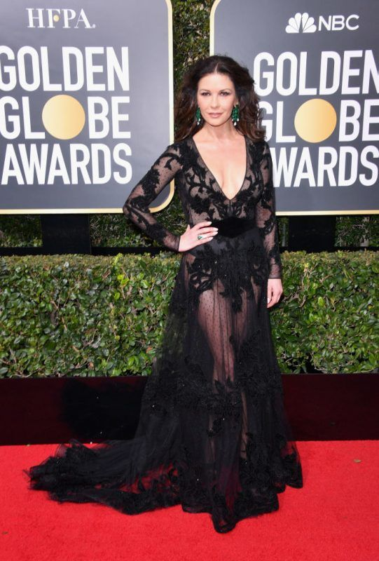 BEVERLY HILLS, CA - JANUARY 07: Actor Catherine Zeta-Jones attends The 75th Annual Golden Globe Awards at The Beverly Hilton Hotel on January 7, 2018 in Beverly Hills, California.  (Photo by George Pimentel/WireImage)
