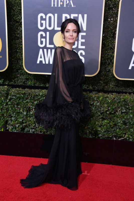 BEVERLY HILLS, CA - JANUARY 07: ActorAngelina Jolie attends The 75th Annual Golden Globe Awards at The Beverly Hilton Hotel on January 7, 2018 in Beverly Hills, California.  (Photo by George Pimentel/WireImage)