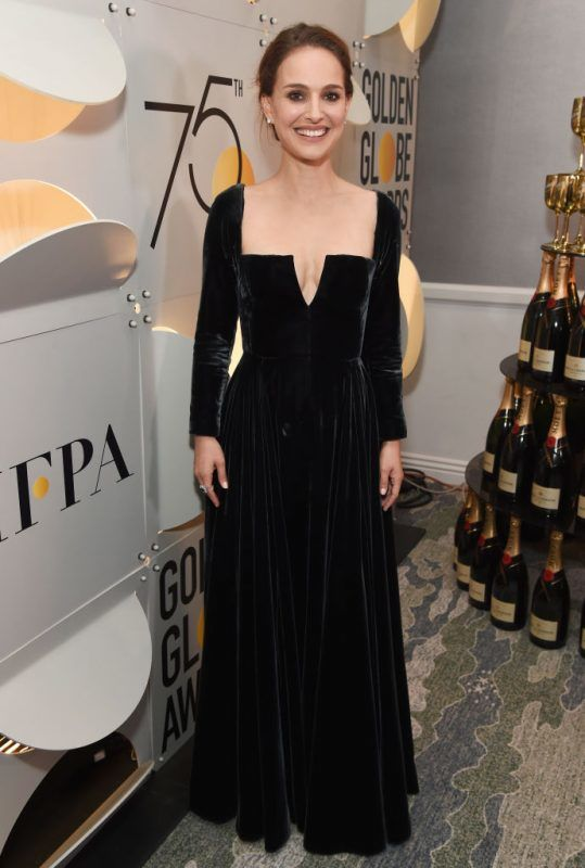 BEVERLY HILLS, CA - JANUARY 07:  Actor Natalie Portman celebrates The 75th Annual Golden Globe Awards with Moet & Chandon at The Beverly Hilton Hotel on January 7, 2018 in Beverly Hills, California.  (Photo by Michael Kovac/Getty Images for Moet & Chandon)