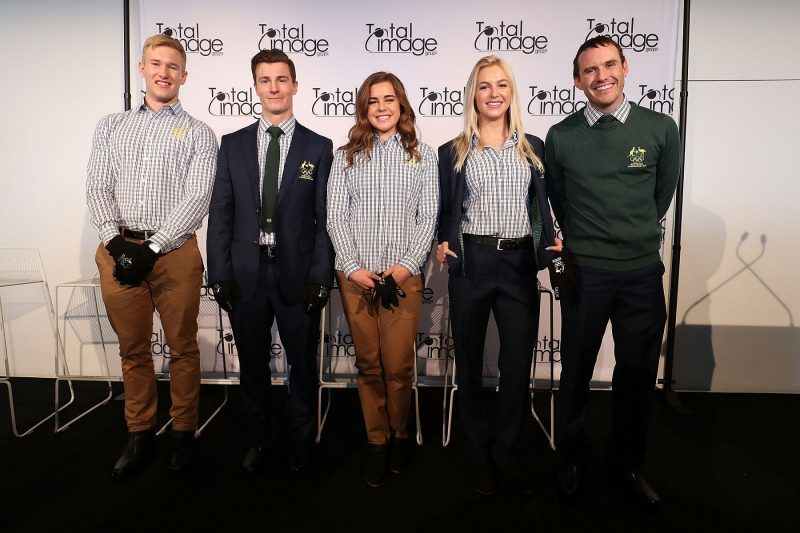 SYDNEY, AUSTRALIA - OCTOBER 20:  Athletes David Morris, Danielle Scott, Jarryd Hughes, Britt Cox and Matt Graham pose during the Australian Olympic Committee 2018 Winter Olympic Games uniform launch at Barangaroo on October 20, 2017 in Sydney, Australia.  (Photo by Mark Metcalfe/Getty Images)